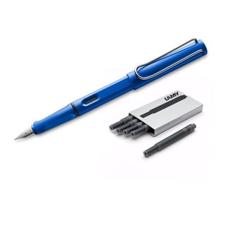 Lamy Safari Blue Plastic Fine Point Fountain Pen With 5 Black Ink Cartridges
