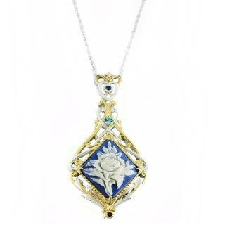 One-of-a-kind Michael Valitutti Carved Cameo with Swiss Blue Topaz and Blue Sapphire Pendant