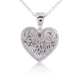 Sterling Silver Diamond Accent 18-inch 'I Love Mom' Heart Pendant Necklace