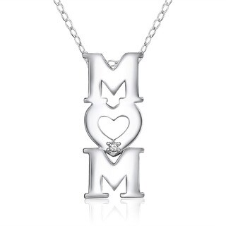 Sterling Silver Diamond Accent 'Mom' Heart Pendant 18-inch Necklace