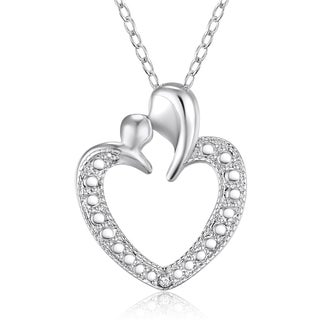 Sterling Silver Diamond Accent Heart Pendant on 18-inch Necklace