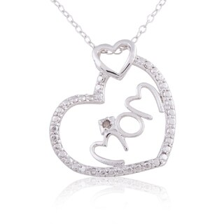 White Sterling Silver Diamond Accent 'Mom' 18-inch Heart Pendant Necklace