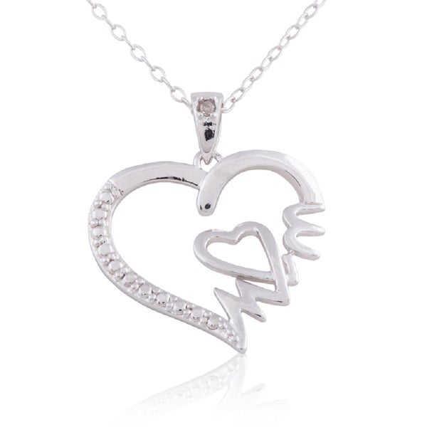 Rhodium plated sterling silver diamond accent mom heart pendant rhodium plated sterling silver diamond accent x27momx27 heart mozeypictures Images
