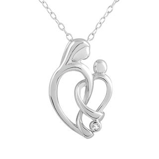 Sterling Silver Diamond Accent Heart Pendant 18-inch Necklace