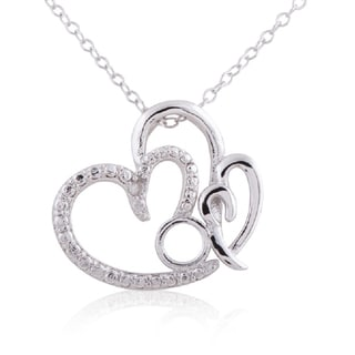 Sterling Silver Diamond Accent 18-inch 'Mom' Heart Pendant Necklace