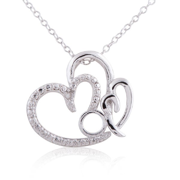 Sterling silver diamond accent 18 inch mom heart pendant necklace sterling silver diamond accent 18 inch x27momx27 heart mozeypictures Image collections