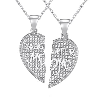 Sterling Silver Diamond Accent 18-inch 2-piece Daughter and Mom Pendant Necklace