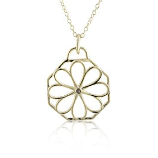 Sterling Silver Gold Plated Diamond Accent 18-inch Open Flower Pendant Necklace