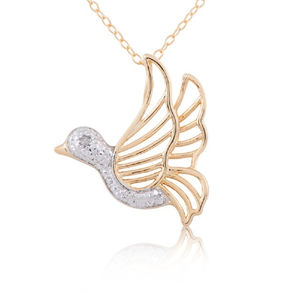 Sterling silver yellow gold plated two tone diamond accent 18 inch sterling silver yellow gold plated two tone diamond accent 18 inch dove pendant aloadofball Choice Image