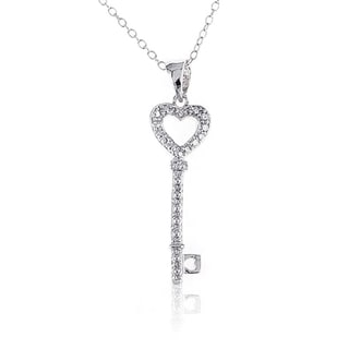 Sterling Silver Diamond-accent 18-inch Heart Key Pendant Necklace
