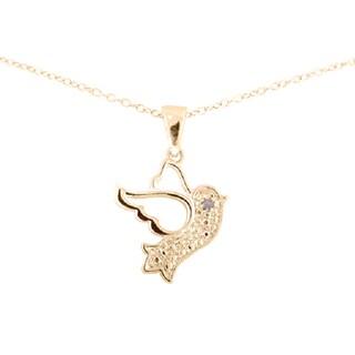 Sterling Silver Diamond Accent 18-inch Dove Bird Pendant Necklace