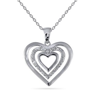Rhodium-plated .925 Sterling Silver and Diamond Accent Triple Heart Pendant 18-inch Necklace