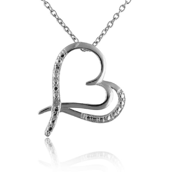 Sterling Silver Diamond Accent Double Open Heart Necklace