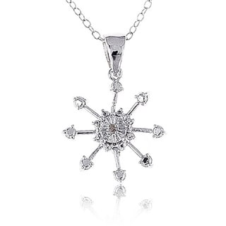 White Sterling Silver Diamond Accent Snowflake Pendant Necklace