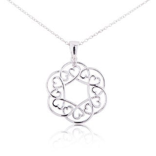 Women's Sterling Silver Diamond Accent 18-inch Flower with Hearts Pendant Necklace