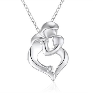 Sterling Silver Diamond Accent 18-inch Heart Mother and Child Pendant Necklace