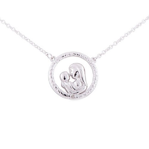 Shop sterling silver diamond accent 18 inch circle mother with child sterling silver diamond accent 18 inch circle mother with child pendant necklace aloadofball Choice Image