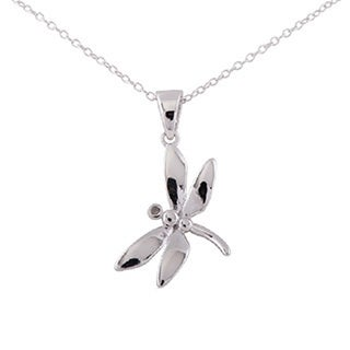 Sterling Silver Diamond Accent Dragonfly Pendant 18-inch Necklace