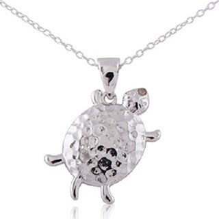 White Sterling Silver Diamond Accent 18-inch Turtle Pendant Necklace
