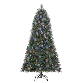 Sheridan Glitter Pine 7.5-foot Quick Set Artificial Christmas Tree with Dual LED Lights