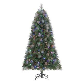 Quick Set Sheridan Glitter Pine Pre-Lit, Dual LED-lit 6.5 ft. Artificial Christmas Tree
