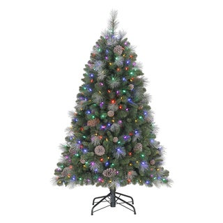 Sheridan 5-foot Glitter Pine Artificial Christmas Tree with Dual LED Lights and Quick Set Powered Tree Pole