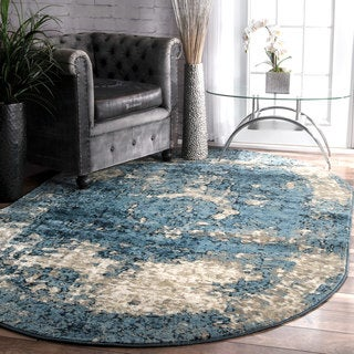 Maison Rouge Elaine Traditional Vintage Fancy Blue Oval Rug - 6' x 9' Oval