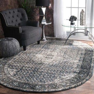 nuLOOM Traditional Vintage Fancy Blue Oval Rug (6' x 9' Oval)