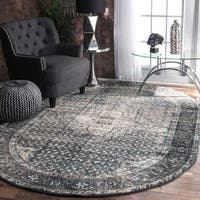 Maison Rouge Elaine Traditional Vintage Fancy Blue Oval Rug  - 6' x 9'