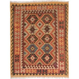 eCarpetGallery Sivas Brown Wool Kilim Hand-Woven Rug (5' x 6'6)