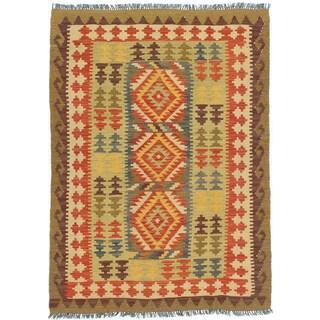 eCarpetGallery Anatolian Ivory/Red Wool Handwoven Kilim Rug (3'5 x 4'10)