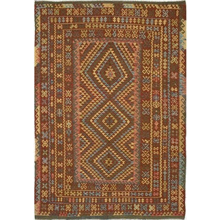 eCarpetGallery Anatolian Kilim Cream/Brown/Green/Light Blue/Red Wool Hand-woven Turkish Area Rug (6'9 x 9'10)