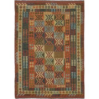 eCarpetGallery Handwoven Izmir Kilim Ivory/Red Wool Kilim (5'9 x 8'3)