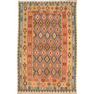 eCarpetGallery Hereke Kilim Brown/Yellow Wool Hand-woven (4'9 x 7'7)