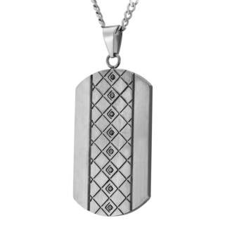 Mens Stainless Steel and Black Diamond Dog Tag
