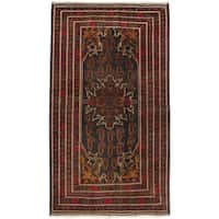 eCarpetGallery Hand-knotted Black/ Brown Wool Rizbaft Rug (3'10 x 6'6)