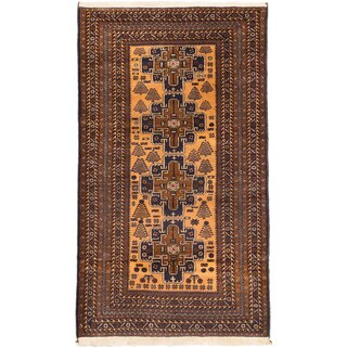 eCarpetGallery Teimani Brown/Ivory Wool Hand-Knotted Rug (3'11 x 7'0)