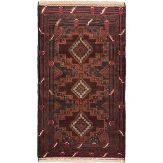 eCarpetGallery Teimani Blue/Red Wool Hand-knotted Rug (3'10 x 6'10)