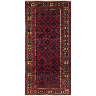 eCarpetGallery Teimani Blue/Red Wool Hand-knotted Rug (3'8 x 7'2)