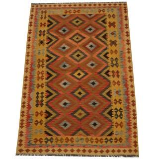 Herat Oriental Afghan Hand-woven Tribal Wool Kilim (5'4 x 8')