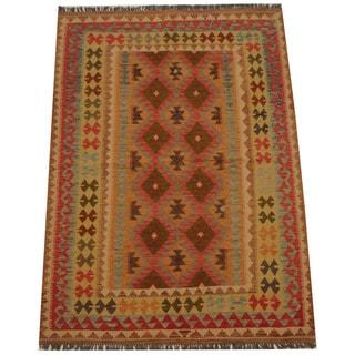Herat Oriental Afghan Hand-woven Tribal Wool Kilim (4'10 x 6'11)