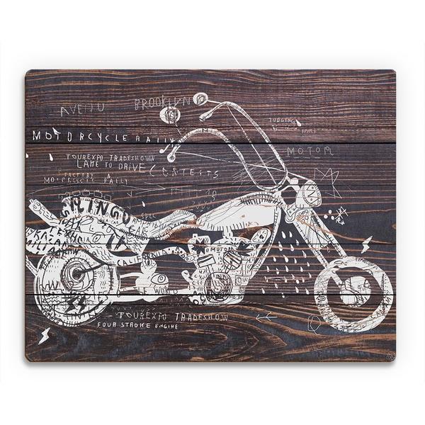 'Dark Wood Motorcycle' Wood Wall Art