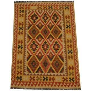 Herat Oriental Afghan Hand-woven Tribal Wool Kilim (4'9 x 6'8)