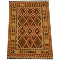 Handmade Herat Oriental Afghan Tribal Wool Kilim  - 4'9 x 6'8 (Afghanistan)