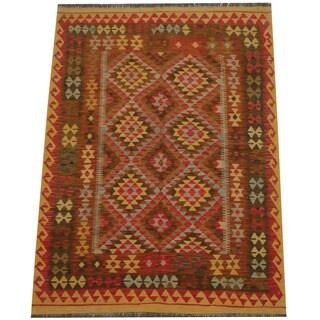 Herat Oriental Afghan Hand-woven Tribal Wool Kilim (4'9 x 6'7)