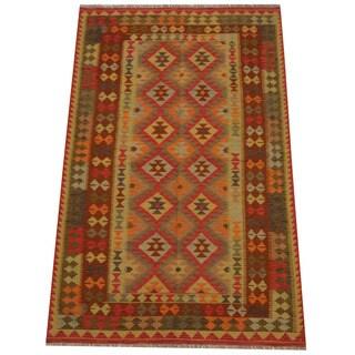 Herat Oriental Afghan Hand-woven Tribal Wool Kilim (5' x 8')