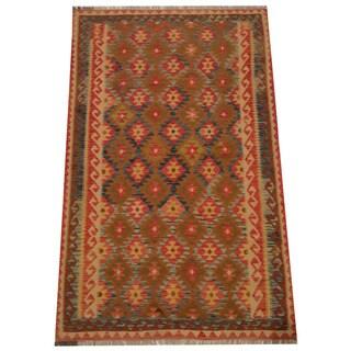 Herat Oriental Afghan Hand-woven Tribal Wool Kilim (4'9 x 6'4)