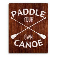 'Paddle Your Own Canoe' Multicolored Wood Wall Art