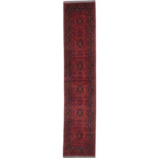 eCarpetGallery Red Wool Hand-knotted Khal Mohammadi Rug (2'9 x 12'11)