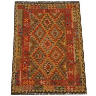 Herat Oriental Afghan Hand-woven Tribal Wool Kilim (4'11 x 6'6)